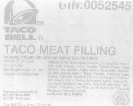 "Taco Bell sued for calling meat ""beef"""