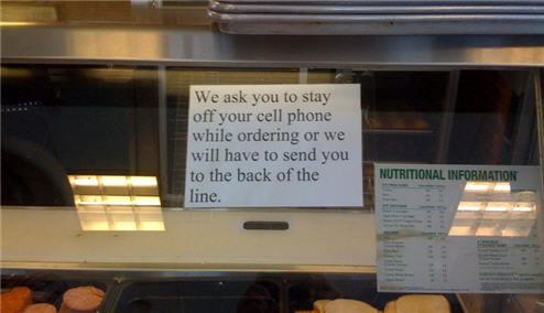 'Get off the phone,' says Subway